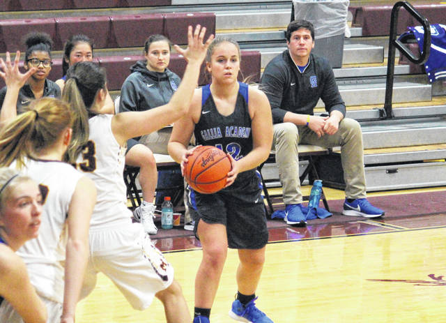 Gallia Academy senior Katie Carpenter passes from the top of the wing, during the Blue Angels' non-conference game loss on Saturday in Rocksprings, Ohio.