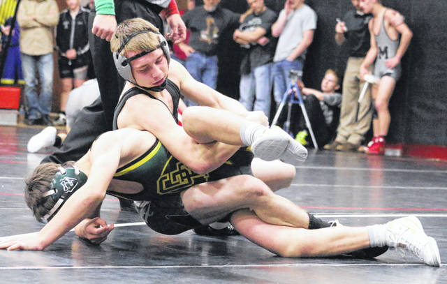 River Valley senior Jake Edwards locks in a hold on a Greenbrier East opponent during a 126-pound match Saturday at the 2018 Jason Eades Memorial Duals held at Point Pleasant High School in Point Pleasant, W.Va.