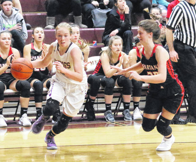 Meigs senior Becca Pullins, left, dribbles past an Alexander defender during the first half of Monday night's TVC Ohio girls basketball contest at Larry R. Morrison Gymnasium in Rocksprings, Ohio.