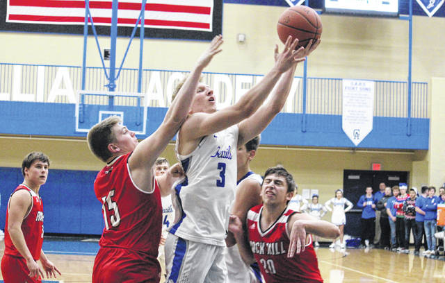 Gallia Academy senior Caleb Henry (3) goes in for a layup during the first half of the Blue Devils' 64-33 triumph on Tuesday in Centenary, Ohio.