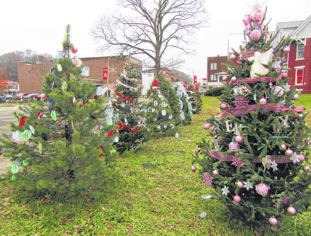 Trees line the grass lot near Dave Diles Park in Middleport. The trees are decorated in various themes and colors by local businesses, organizations and individuals.