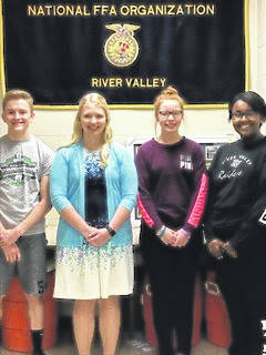 On April 18, four River Valley FFA members went to the state animal management contest in Columbus. Those members are Caleb McKnight, Kaylee Schultz, Bailey Bennett and Destiny Dotson. At the contest members were required to watch a slideshow and be able to answer 50 questions about the presentation. Also, they did a practicum of identifying animals and identifying what diseases that the animals had.