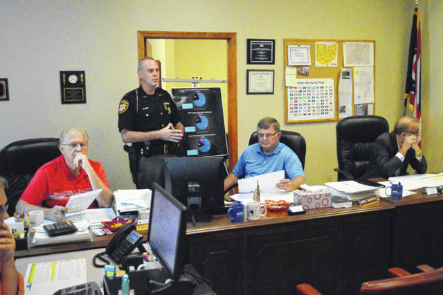 From left to right are Gallia Commissioner Harold Montgomery, Gallia Sheriff Matt Champlin, Gallia Commissioner Brent Saunders and Gallia Commissioner David Smith. Commissioners recently confirmed that a little over 50 percent of this year's general fund would be going to criminal justice issues.