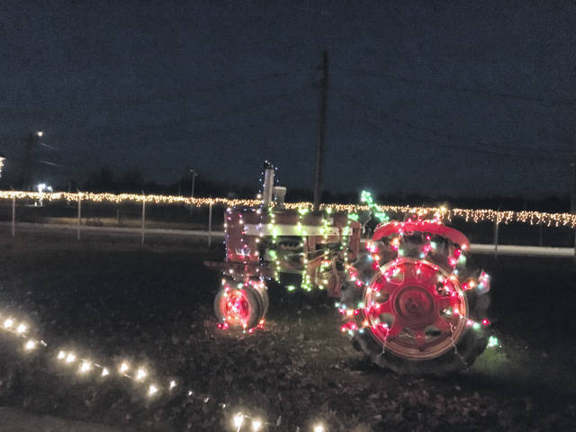 A festively decorated tractor