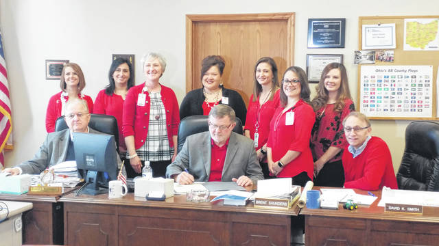 Gallia Commissioners proclaimed February American Heart Month, Thursday, during the regular commissioners' meeting in the Gallia Courthouse. Holzer Health System cardiovascular health representatives, pictured, celebrated the day with the commissioners' proclamation. According to CDC.gov, heart disease can happen at any age. Half of all Americans ahve at least one of the three top risk factors for heart disease, smoking, high cholesterol and high blood pressure. Risk can be mitigated by eating healthy, not smoking and regular exercise.
