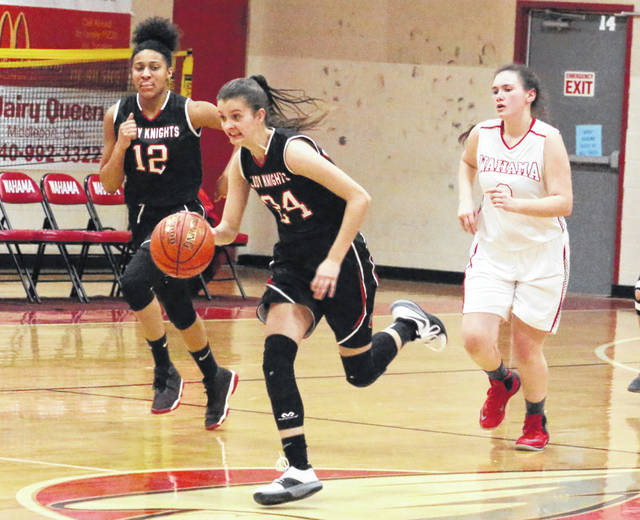 Point Pleasant freshman Brooke Warner (24) leads a fast break during the second half of Wednesday night's girls basketball contest against Wahama at Gary Clark Court in Mason, W.Va.