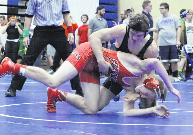 River Valley freshman Will Hash locks in a hold during a match at the Skyline Bowling Wrestling Invitational held on Dec. 29, 2018, at Gallia Academy High School in Centenary, Ohio.
