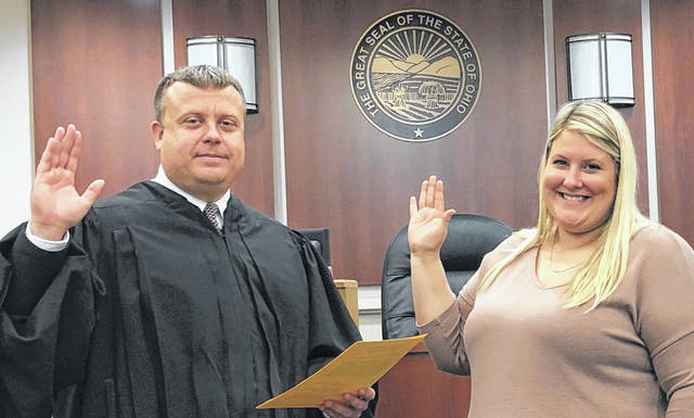 Gallipolis Municipal Judge Eric Mulford stands with new Gallipolis City Solicitor Brynn Noe.