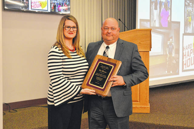 The Gallia Chamber of Commerce named Ohio Valley Bank President and CEO Tom Wiseman as this year's Bud and Donna McGhee Award recipient. The award was given at the annual Gallia Chamber of Commerce Awards Ceremony Thursday evening and is traditionally kept secret until the night of the function. It is considered the highest honor the Chamber bestows upon a community member. Pictured, Wiseman stands with Chamber Past Board President Meagan Wood.