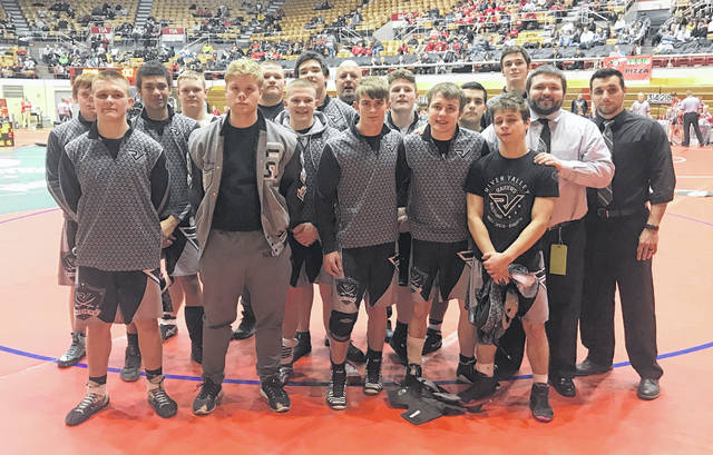 Members of the River Valley wrestling team pose for a picture after completing the afternoon on Sunday at the 2019 Division III OHSAA wrestling dual team tournament held at St. John's Arena in Columbus, Ohio.