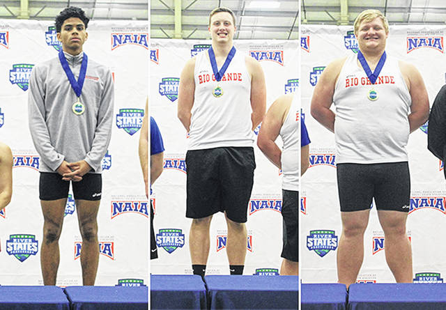 From left to right, Rio Grande's Keshawn Jones, Zachary Collins and Joseph Beegle recorded first-place finishes for the RedStorm during Friday's River States Conference Men's Indoor Track & Field Championships in Tiffin, Ohio.