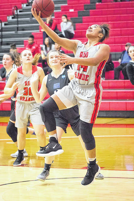 University of Rio Grande senior Jaida Carter releases a shot attempt during a game against Ohio Valley University in Rio Grande, Ohio.