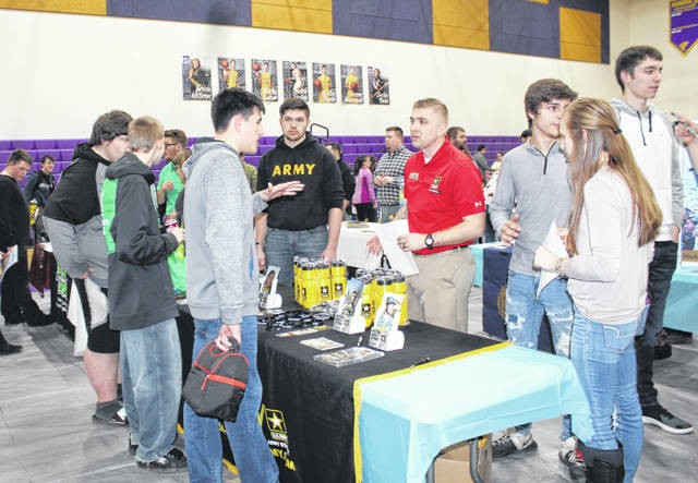 Students talk with a U.S. Army recruiter during Southern's Career Palooza on Friday.