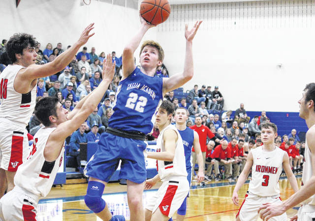GAHS senior Cory Call (22) shoots a two-point from the middle of the JHS defense, during the Blue Devils' 42-38 season-ending setback on Saturday in Londonderry, Ohio.