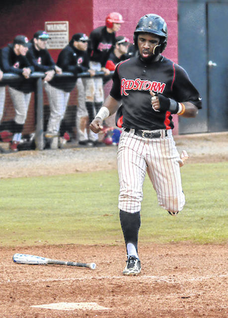 Rio Grande senior Roanderson Severino scores a run during the first game of Friday's doubleheader at Bryan College. The RedStorm won game one, 4-3, while the Lions rallied for a 4-2 win in the nightcap.