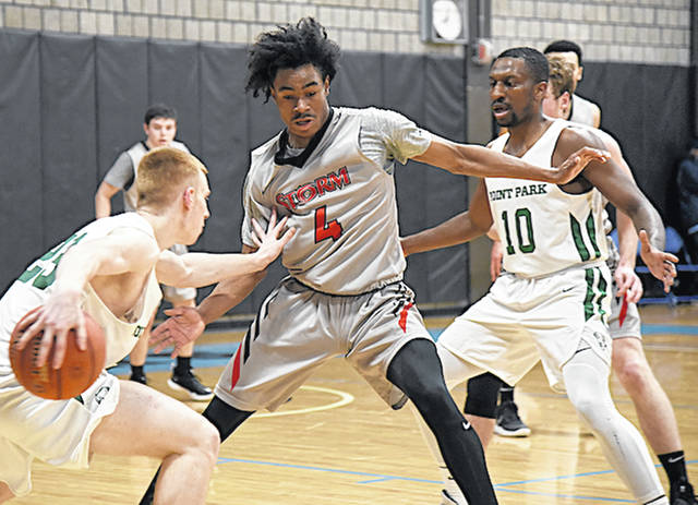 Rio Grande's Joshua Anthony (4) defends the ball during Tuesday night's 66-54 win over Point Park University in Pittsburgh, Pa.