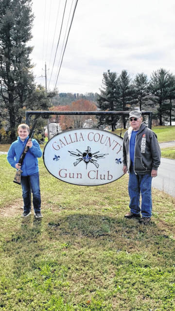 The Gallia County Gun Club held its annual Fall Shoot in November. The winner of the free Youth Shoot was Zander Toler. He is being presented with a 20 gauge pump shotgun by Gallia Gun Club President Bill McCreedy.