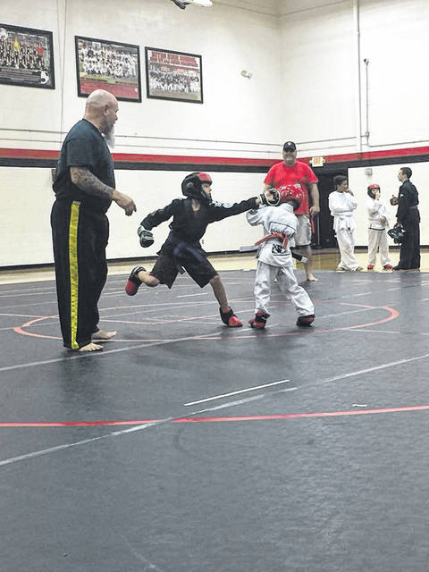 American Combat Ju-Jitsu students during a sparring match.