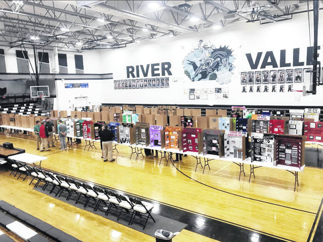 Pictured are River Valley High School Academic Festival projects in the school gymnasium.