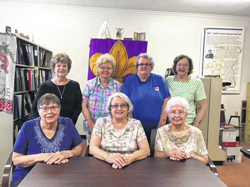 Pictured are members of the Gallia Genealogical Society. From left to right in front are Linda Criner, Jean Niday, Marilyn Schoonover. Back row, from left to right are Barbara Richards, Mary James, Carolyn Cogar and Ann Brown.
