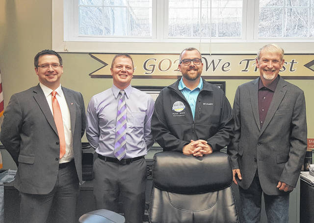 Jimmy Will, second from left, was selected as the new Meigs County Commissioner in a decision which was announced on Friday morning. Pictured are Meigs County Prosecutor James K. Stanley, Will, Commissioner Randy Smith and Commissioner Tim Ihle.