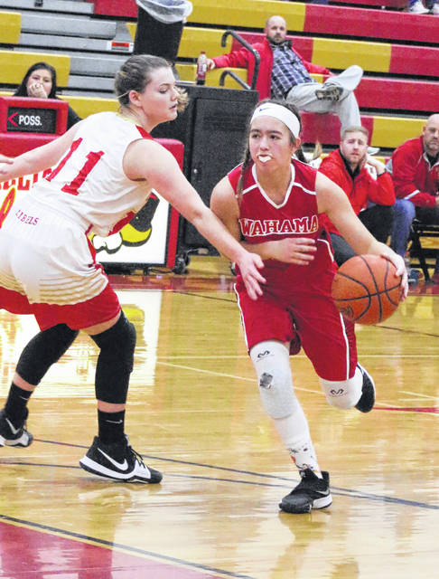Wahama junior Hannah Rose dribbles past a South Gallia defender during a Jan. 3 girls basketball contest in Mercerville, Ohio.