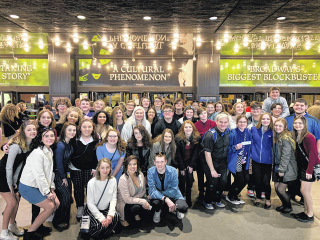 "Pictured are members of the Gallia Academy Madrigals on Friday evening in New York City. The group attended ""Wicked"" on Broadway at the Gershwin Theatre. The choir members perform this Sunday at Carnegie Hall."