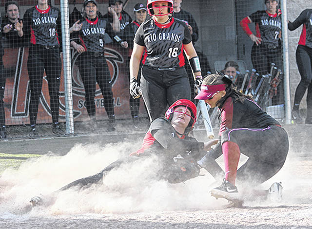 Rio Grande's Taylor Webb scores the go-ahead run on a wild pitch in the fourth inning of Wednesday's game two win over the University of Northwestern Ohio at Rio Softball Park. The RedStorm defeated the Racers in the nightcap, 6-3, after suffering an 11-3 mercy rule-shortened loss in game one.