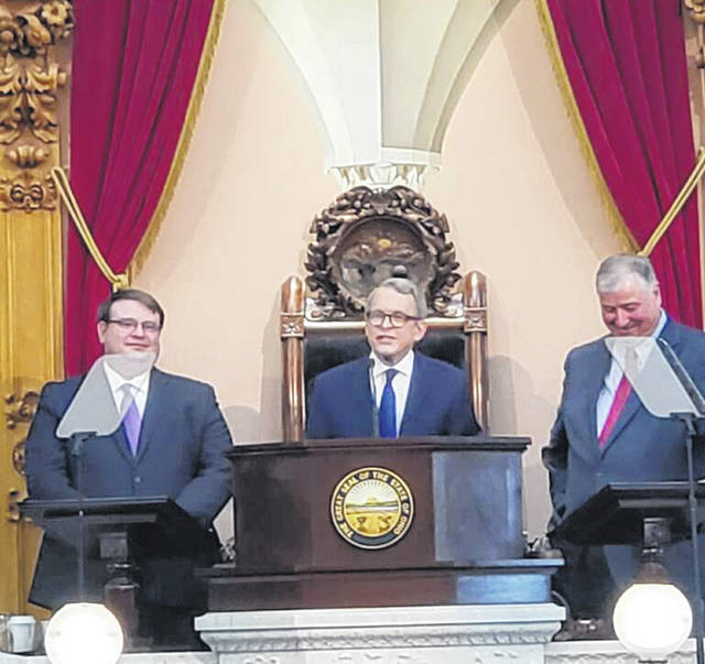 Ohio Governor Mike DeWine (center) delivers his State of the State address. Also pictured are Senate President Larry Obhof and Speaker of the House Larry Householder