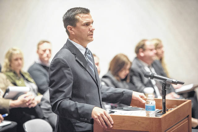 Gallia Engineer Brett Boothe addresses the Ohio Governor's Advisory Committee on Transportation Infrastructure in early February.