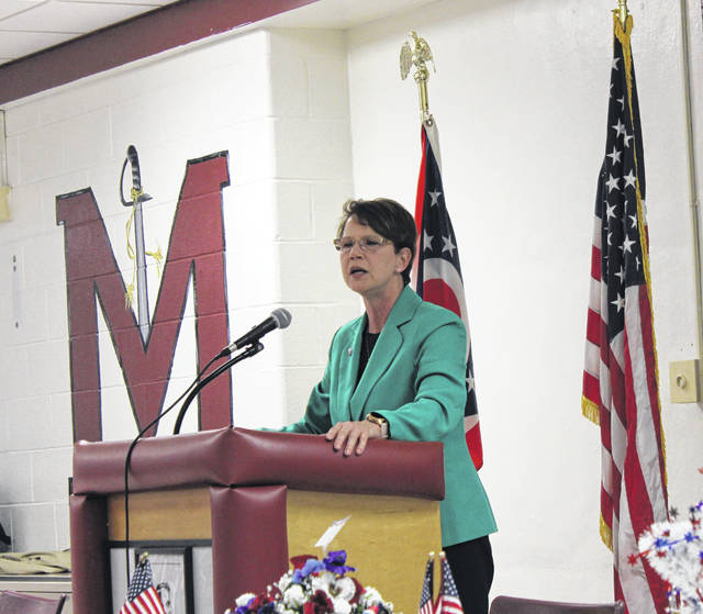 Justice Sharon L. Kennedy addresses the Meigs County Republican Party at the annual Lincoln Day Dinner in March. Kennedy will be sharing her thoughts with Gallia GOP faithful on April 25.