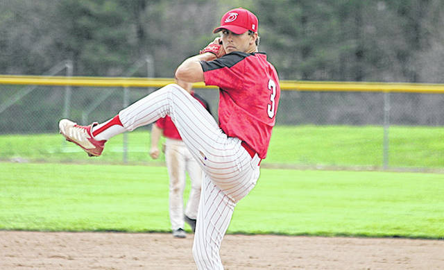 Rio Grande's Zach Harvey delivers a pitch in Friday's 14-3 win over Ohio Christian University at Olson Field in Circleville. Harvey picked up his national-best 10th victory in 12 decisions.