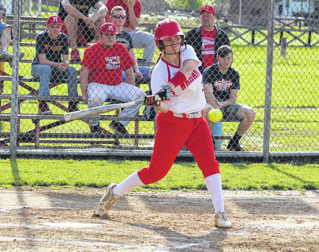 Wahama sophomore Victoria VanMatre swings at a pitch during the third inning of Tuesday night's softball game against Williamstown in New Haven, W.Va.