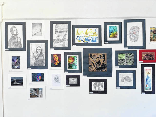 Gallia County Local Schools' High School level art displayed in the Holzer Gallery at Riverby