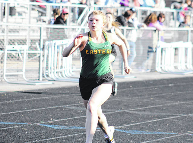 Eastern freshman Brielle Newland competes in the 100m dash at the River Valley Open on April 2 in Bidwell, Ohio.