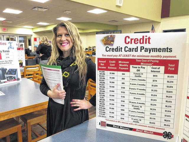 OVB Financial Literacy Leader Hope Roush shows students the value of paying more than the minimum payment when it comes to credit card debt.