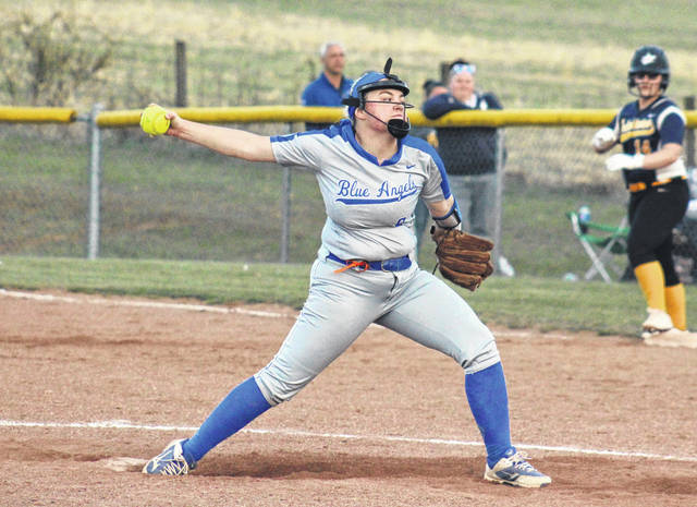 GAHS junior Bailey Meadows delivers a pitch during the Blue Angels' 10-5 victory over South Point on April 3 in Centenary, Ohio.