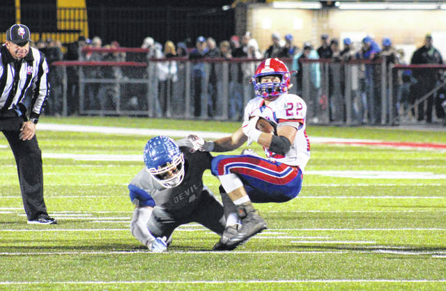 GAHS senior Jacob Campbell tackles Licking Valley's Connor McLaughlin (22), during the Region 15 postseason opener on Nov. 3, 2018, in Jackson, Ohio.