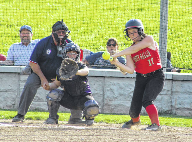 South Gallia freshman Lalla Hurlow (17) swings at a pitch during Tuesday night's TVC Hocking softball game against Southern in Mercerville, Ohio.