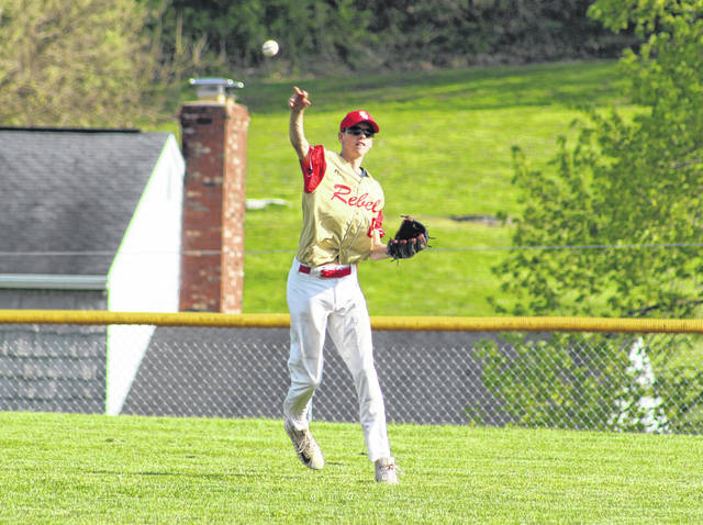 South Gallia centerfielder Jaxxin Mabe relays a throw back to the infield during the first inning of Tuesday night's TVC Hocking baseball game against Southern in Mercerville, Ohio.