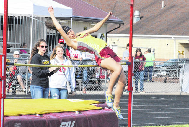MHS freshman Jewels Conley competes in the high jump at the Meigs Relays on April 16 in Rocksprings, Ohio.