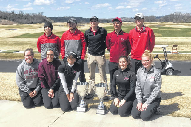 The Rio Grande men's and women's golf teams pose with their championship trophies after taking the title in last weekend's Johnson University Spring Classic in Sevierville, Tenn.