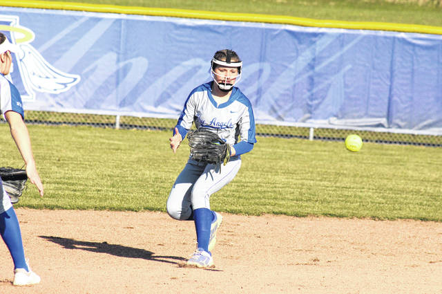 Gallia Academy sophomore Malerie Stanley fields a one-hopper and steps on second base for a force out, during the Blue Angels 10-5 win over South Point on Wednesday in Centenary, Ohio.