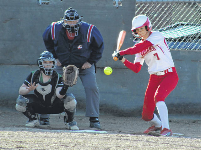 Wahama sophomore Emma Gibbs prepares to swing at a pitch during an April 2 TVC Hocking softball contest against Eastern in Tuppers Plains, Ohio.