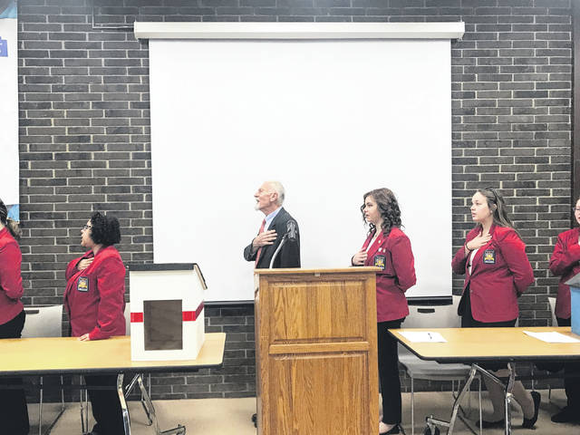 The Buckeye Hills Career Center local chapter of SkillsUSA held its monthly meeting on Friday, March 22, 2019. Gregory Ervin, Commander of the American Legion Jefferson Howe Post 81 attended and served as the special guest speaker. Ervin came and spoke with students about the history and importance of the Pledge of Allegiance. Supporters of the program said all too often, it is forgotten the significance of the Pledge of Allegiance and its importance to the country. For the past 127 years, the Pledge of Allegiance has been recited daily in the country. Pictured is Ervin from American Legion Jefferson Howe Post 81 leading the SkillsUSA members in the Pledge of Allegiance.