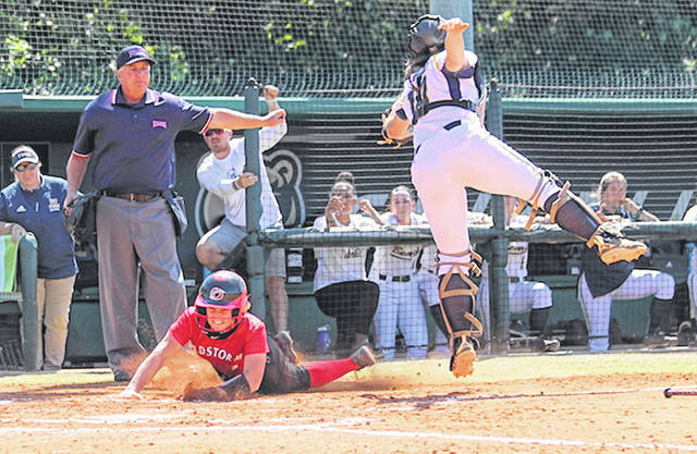 Rio Grande's Michaela Criner slides in safely for the game's lone run in a 1-0 win over Truett-McConnell (Ga.) during Tuesday's play in the Lawrenceville Bracket of the NAIA Softball National Championship Opening Round in Lawrenceville, Ga. The RedStorm also defeated LSU-Alexandria to earn a berth in Wednesday's title game.