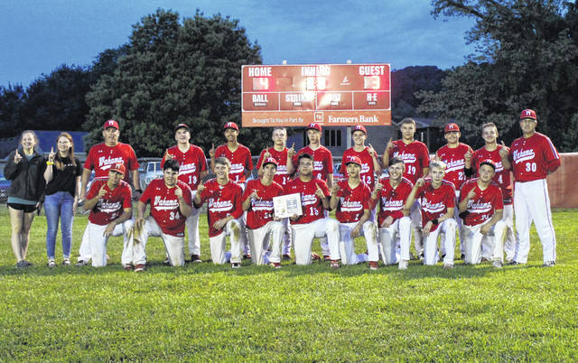 Members of the 2019 Class A Region IV, Section 1 champion Wahama baseball team pose for a photo following the 4-3 eight innings victory over Williamstown on Thursday in Mason, W.Va.