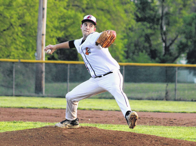 Point Pleasant junior Joe Herdman delivers a pitch during the second inning of Tuesday night's baseball game against Ripley in Point Pleasant, W.Va.