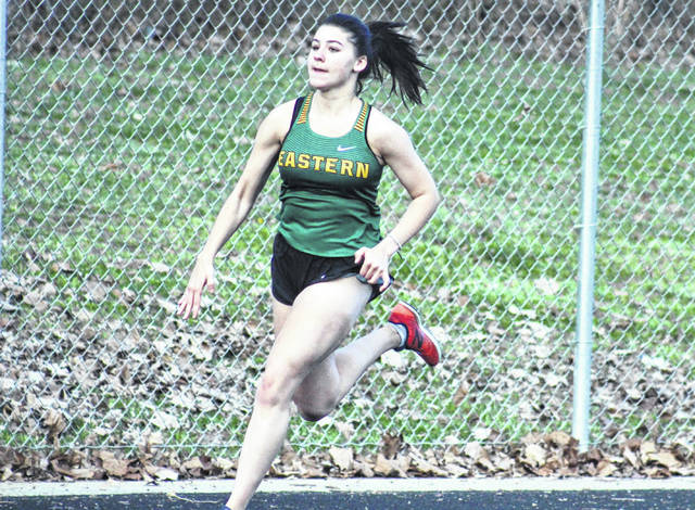 Eastern senior Rhiannon Morris competes in the 400m dash at the River Valley Open on April 2 in Bidwell, Ohio.