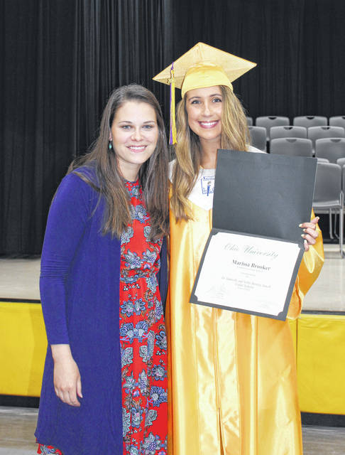 Ohio University Class of 2023 Cutler Scholar recipient Marissa Brooker, right, is pictured with past recipient Courtney Manuel at the recent Southern High School Senior Award Day.